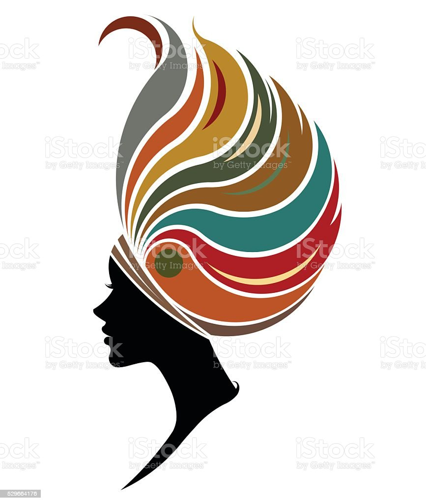 African women silhouette fashion models on white background vector art illustration
