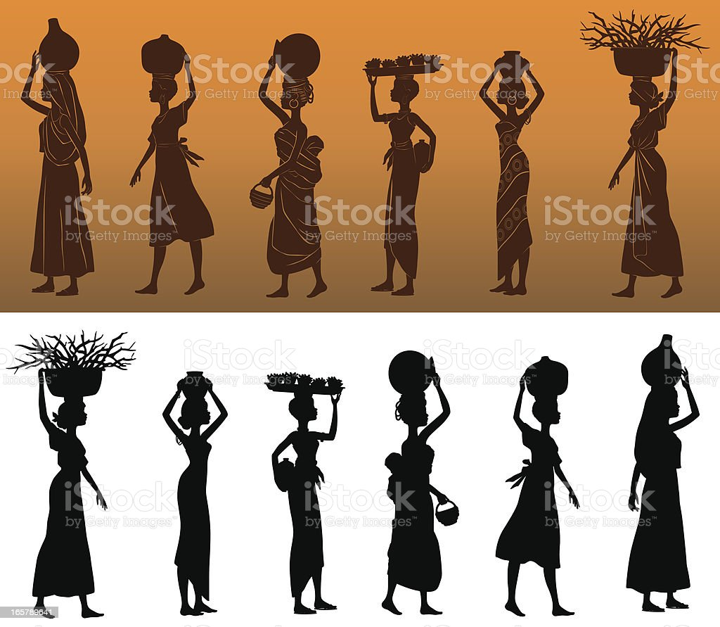 African Women Silhouettes vector art illustration