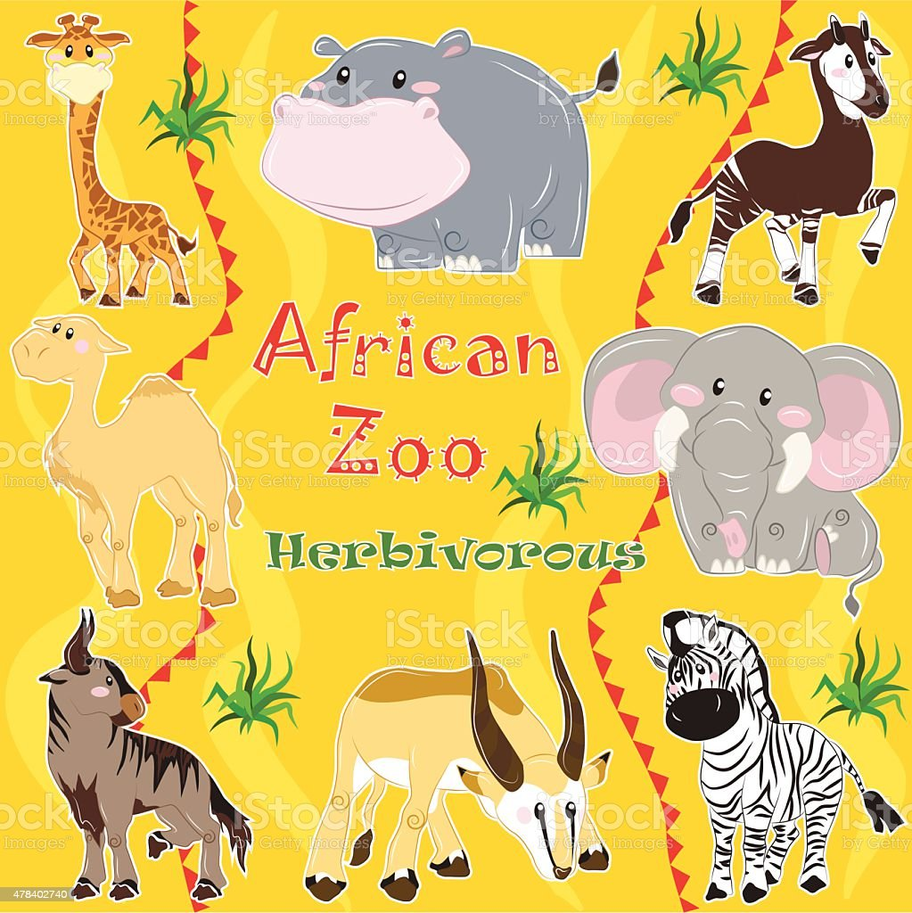 African zoo. Herbivorous animals. vector art illustration