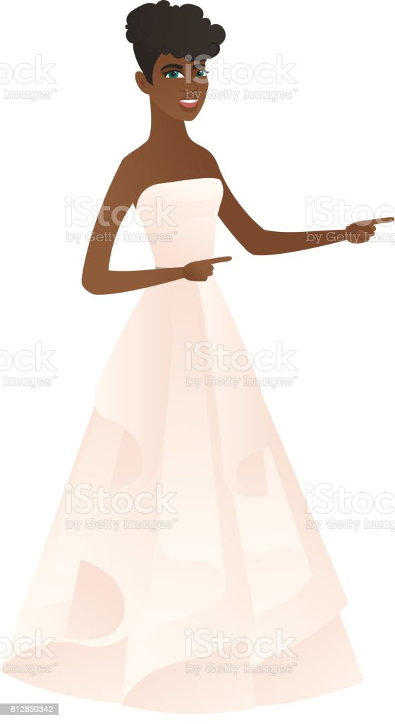 African-american fiancee pointing to the side vector art illustration
