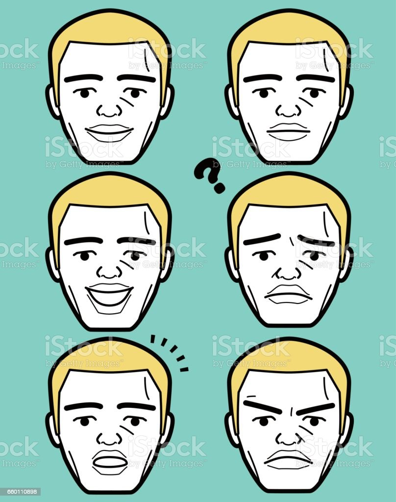 African-american Male emoticon Mature adult man face with crew cut vector art illustration