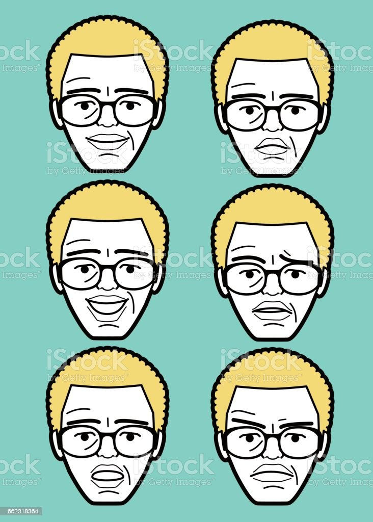 African-american Male emoticon Senior man face with glasses vector art illustration