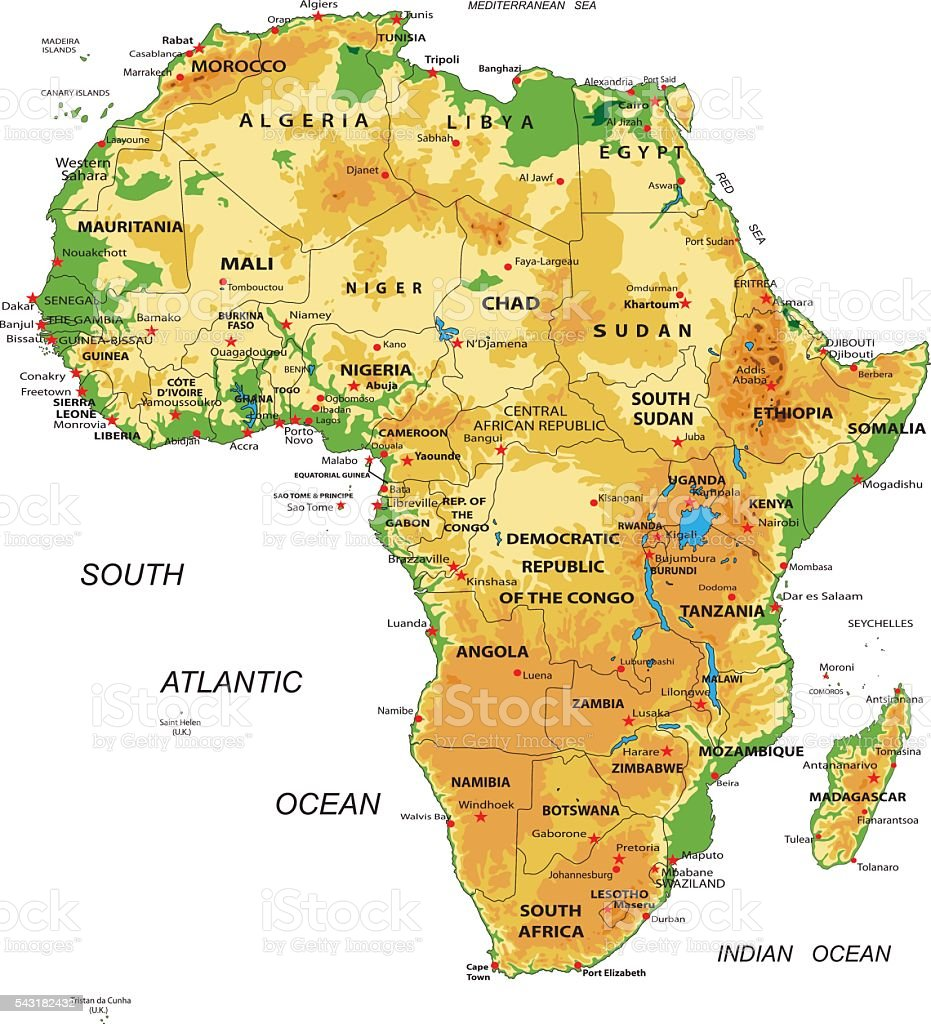 Africa-physical map vector art illustration