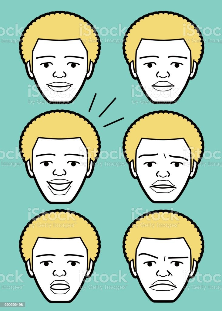 Afro African-american Male emoticon young adult man face vector art illustration
