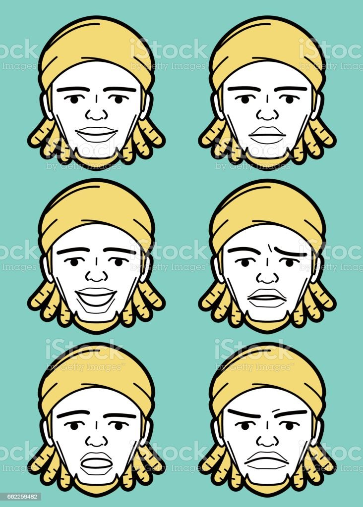 Afro African-american Male emoticon young adult man face with Dreadlocks vector art illustration