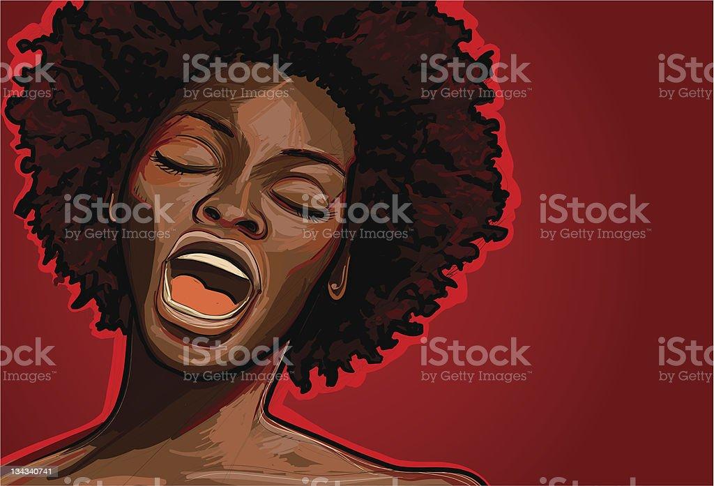 afro american jazz singer vector art illustration