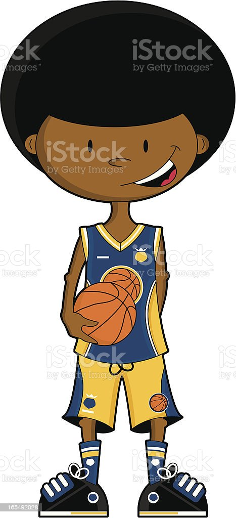 Afro Basketball Boy Character royalty-free stock vector art