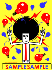 Afro businessman with idea light bulbs, gesturing Rock And Roll vector art illustration