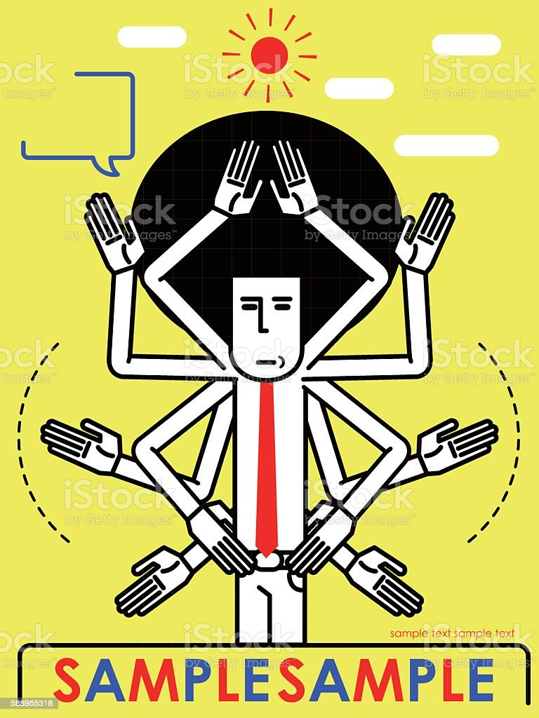 Afro cool businessman with many hands vector art illustration