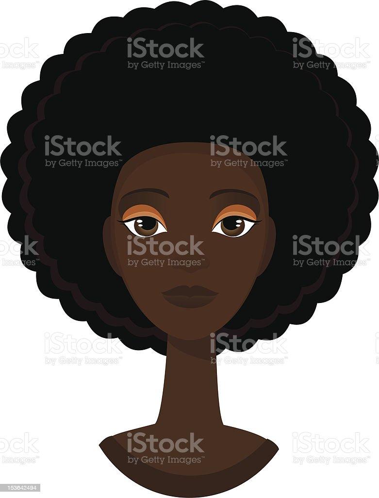 Afro funky woman vector art illustration