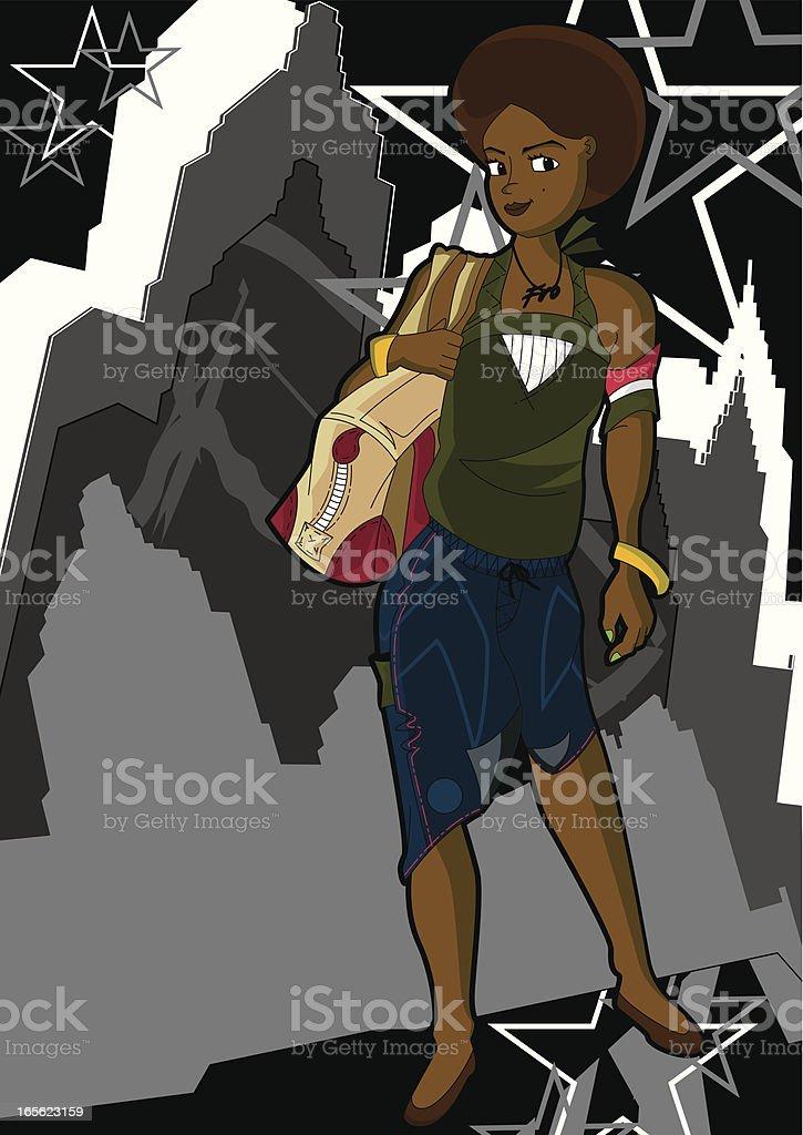 Afro Girl in City Grunge Scene vector art illustration