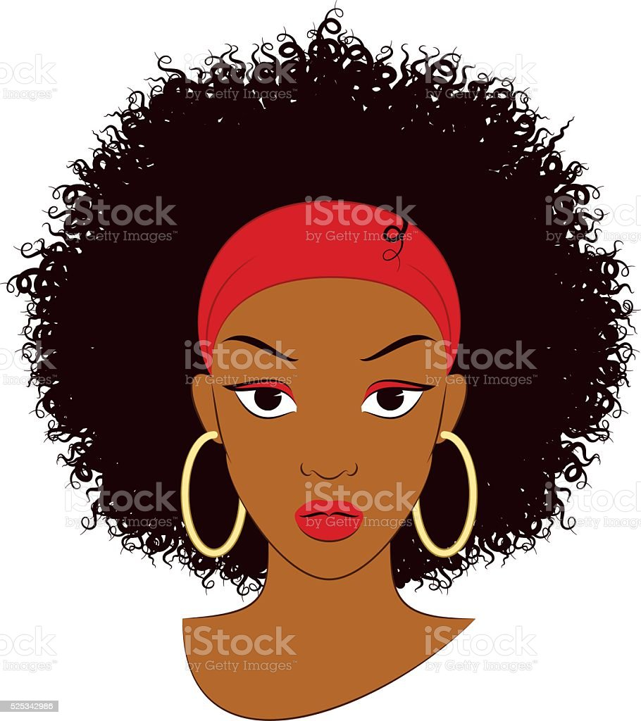 Afro Girl vector art illustration