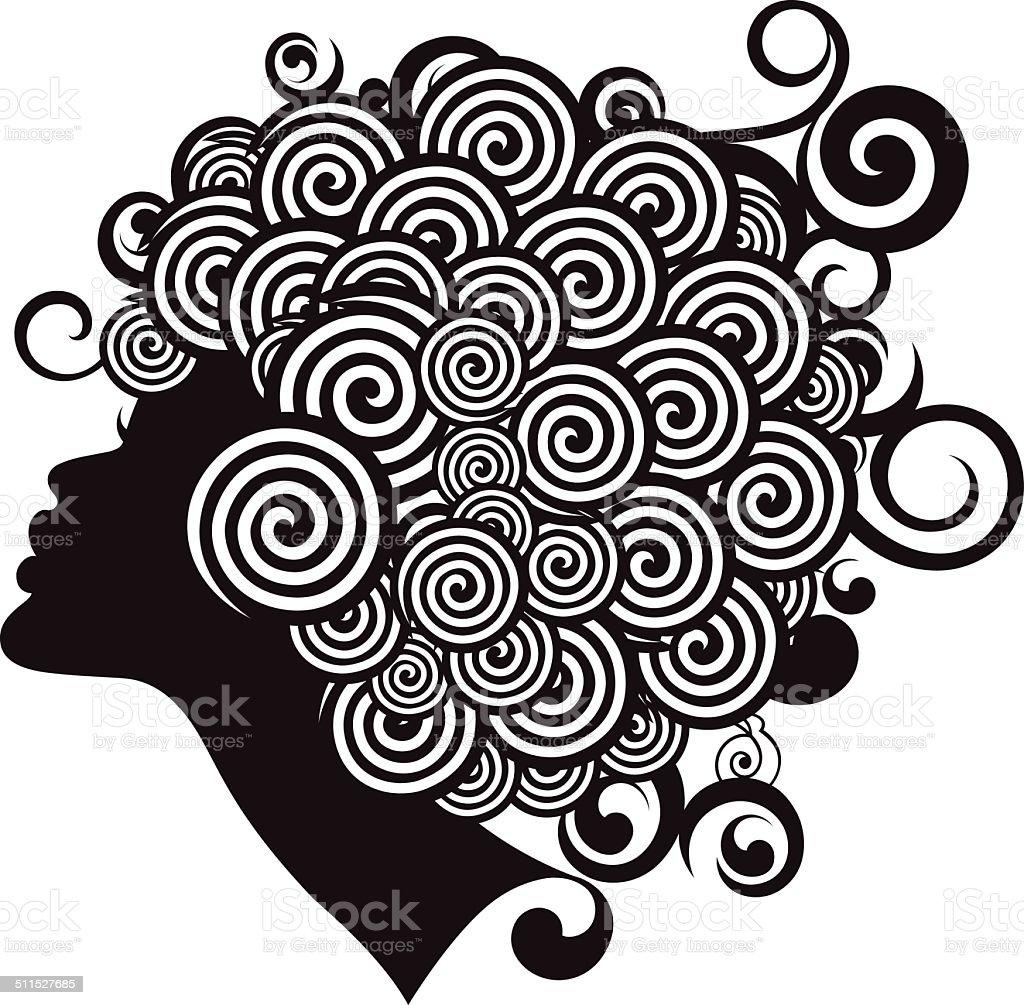Afro hairstyle. vector art illustration