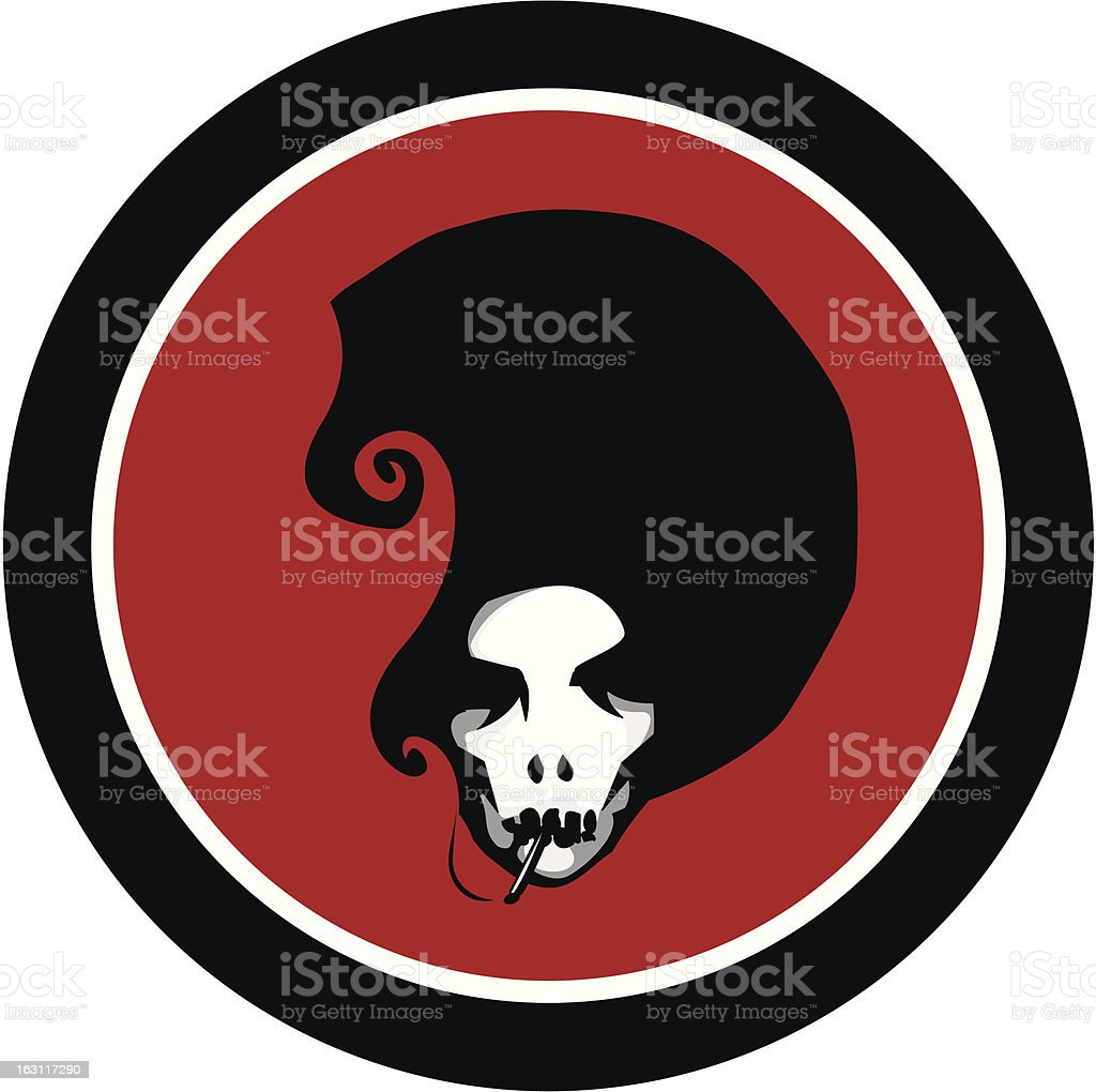 afro skull [ smoking ] addict vector art illustration