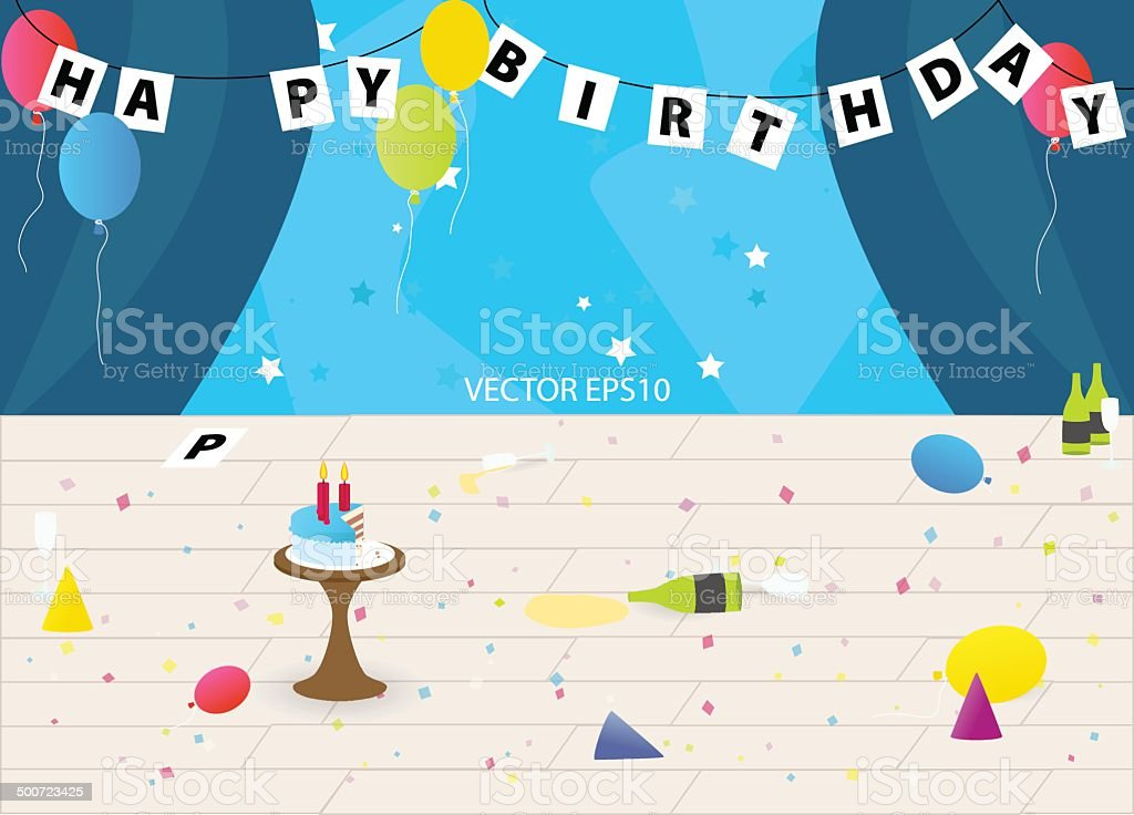 After party mess in the room vector art illustration