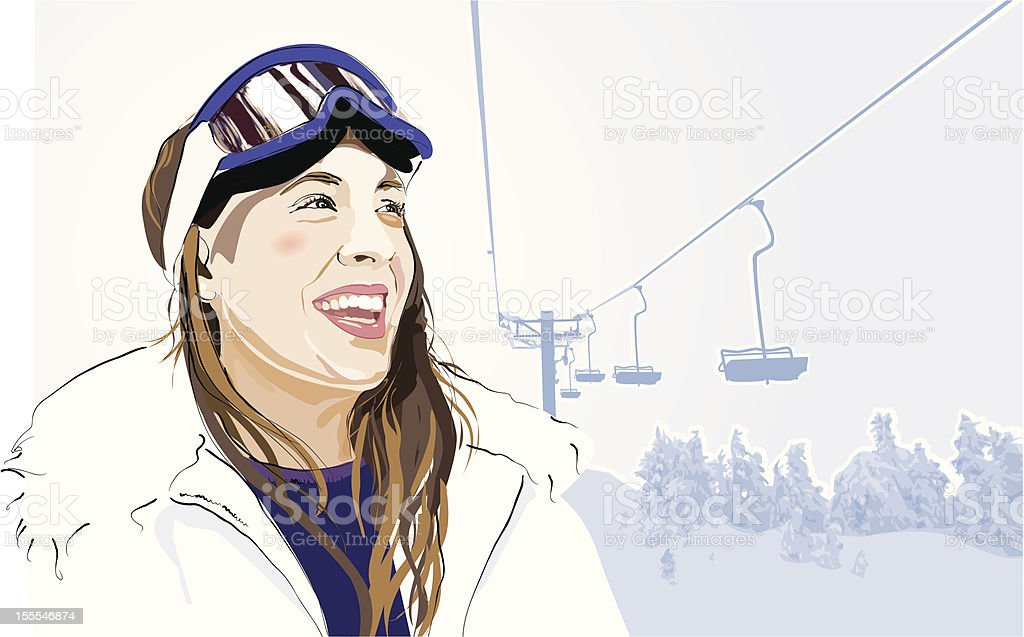 Apres Ski vector art illustration