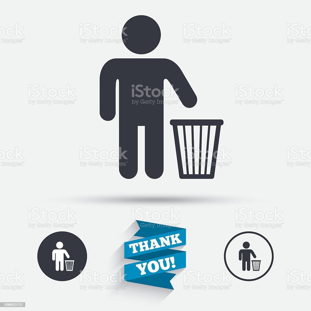 After use to throw in trash. Recycle bin sign. vector art illustration
