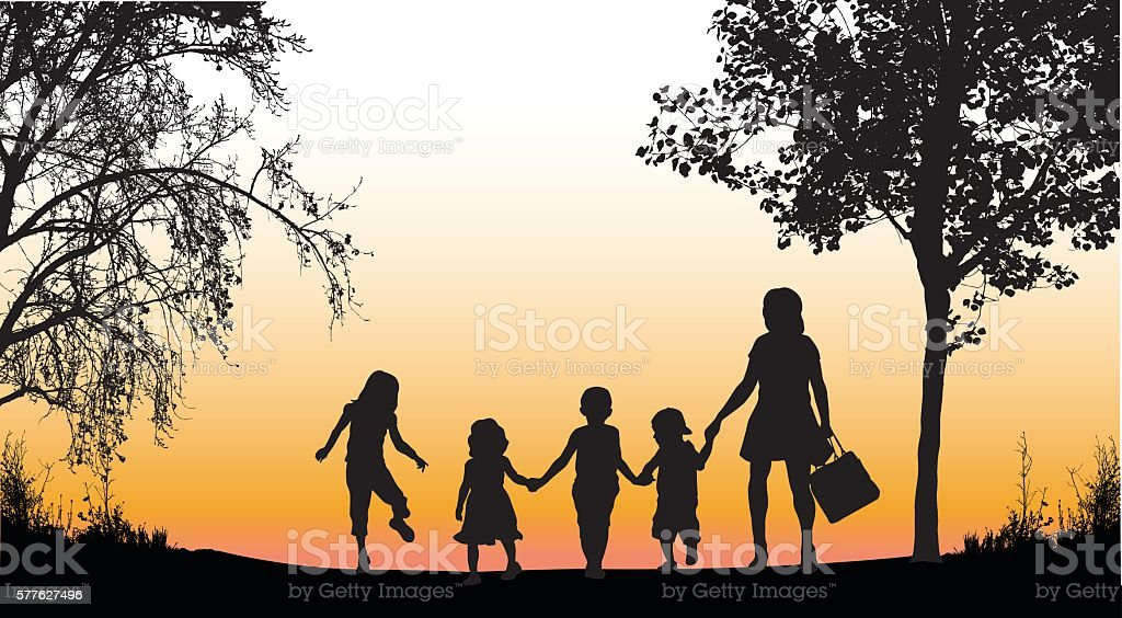 Afternoon Daycare Walk vector art illustration