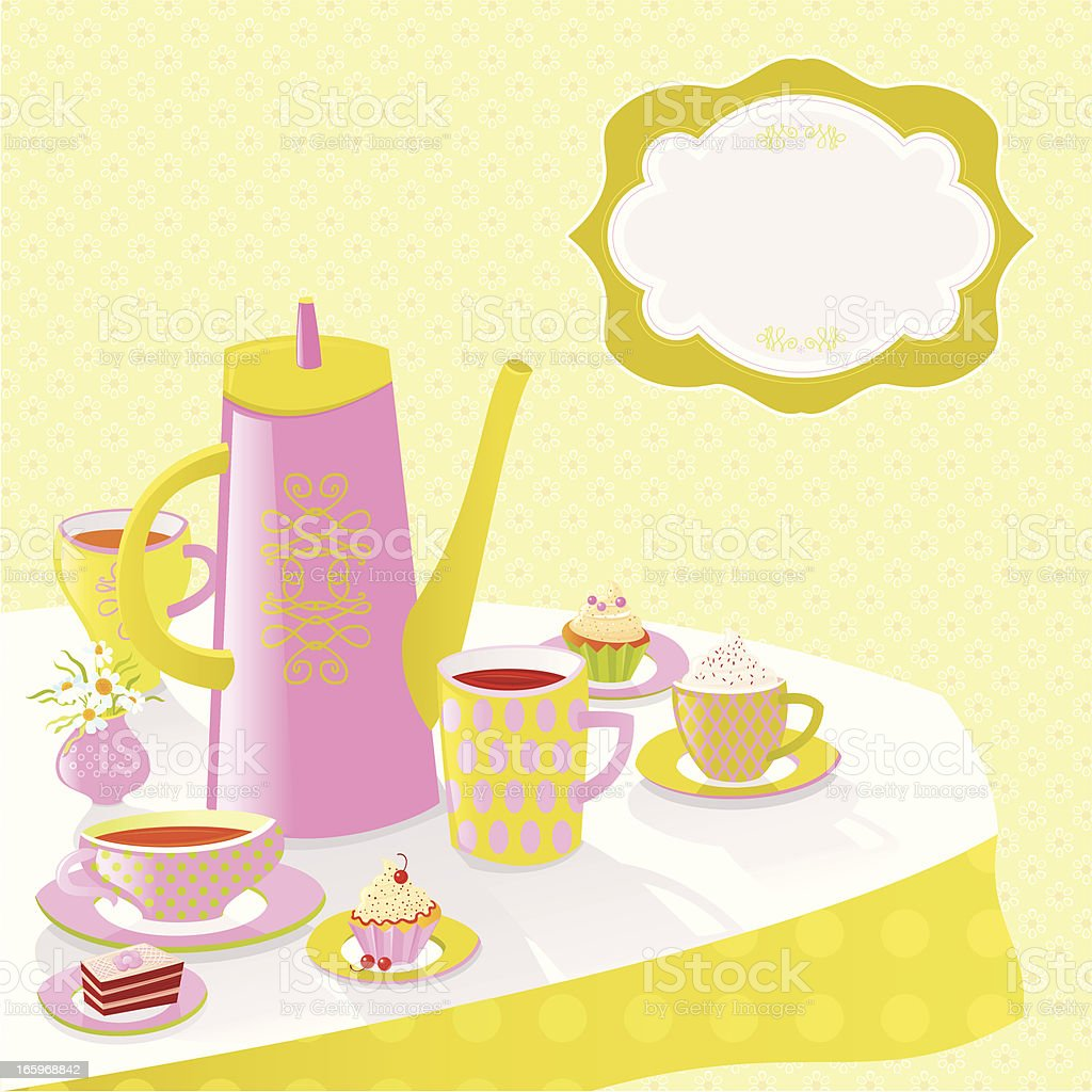 Afternoon Tea Invitation royalty-free stock vector art