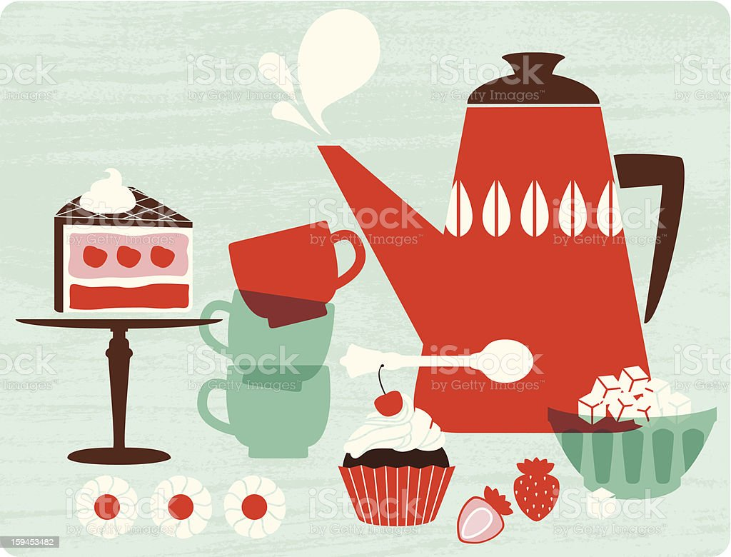 Afternoon tea vector art illustration
