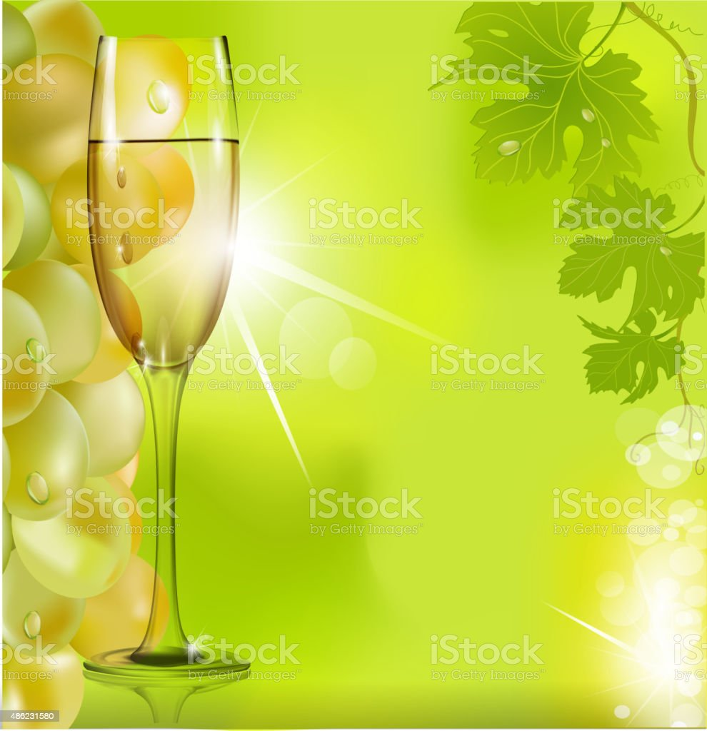 against the glass of wine grapes and green leaves vector art illustration