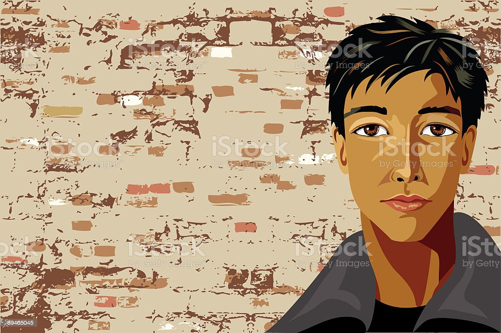 Against the Wall - Urban Portrait royalty-free stock vector art