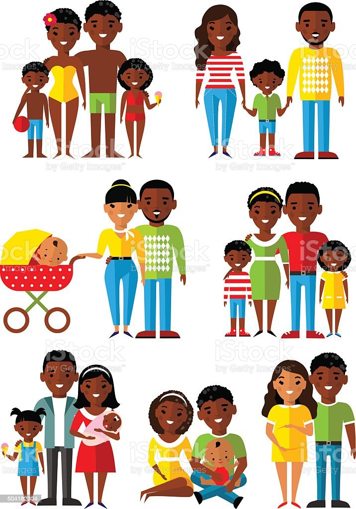 age group of african american people. Generations man and woman. vector art illustration