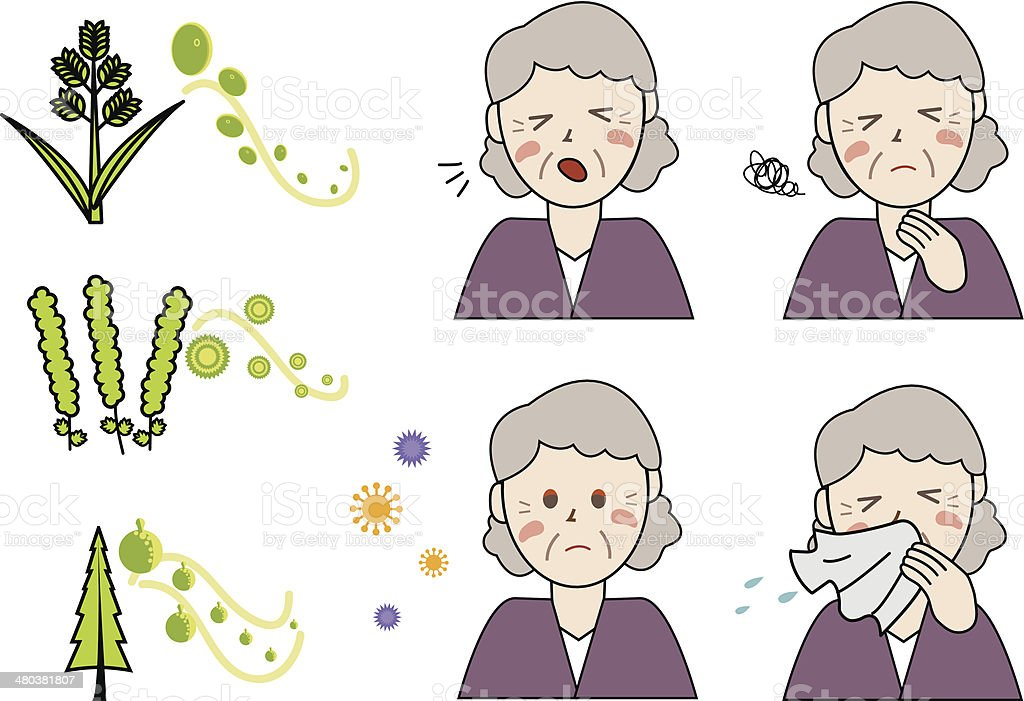 Age related Allergies in Woman - Illustration vector art illustration