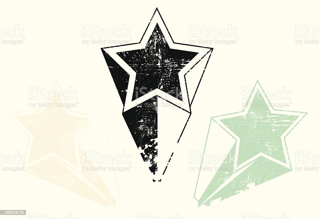 Aged and weathered shooting star collection vector art illustration