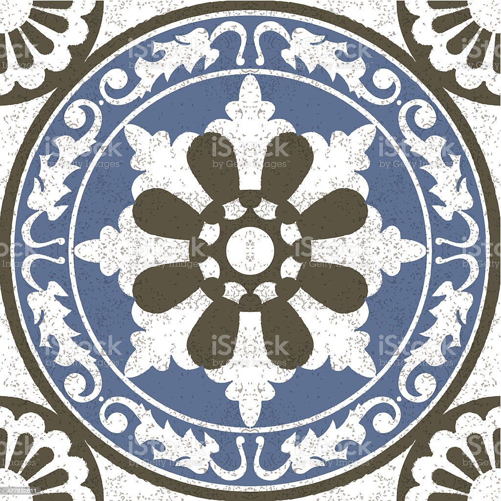 Aged effect Moorish Spanish mosaic tile royalty-free stock vector art
