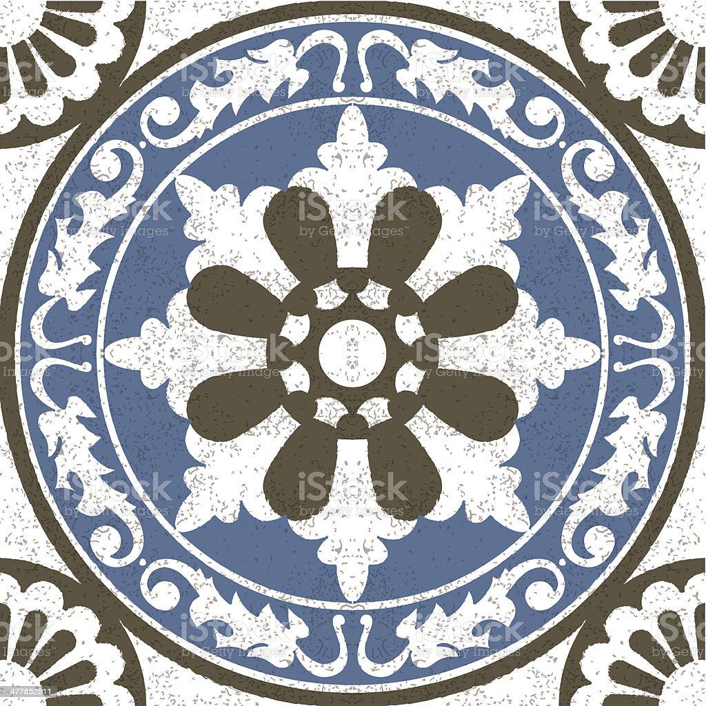 Aged effect Moorish Spanish mosaic tile vector art illustration
