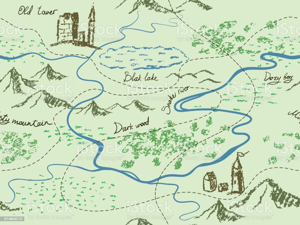 Aged Fantasy Vintage Seamless Map With Mountains Buildings Trees - Us map of rivers lakes and mountains