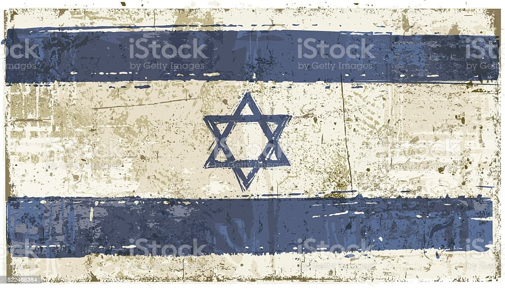 Aged Israel Flag vector art illustration