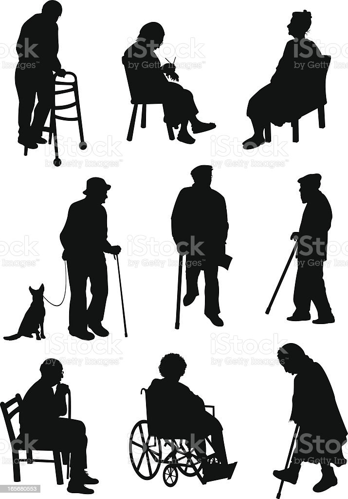 Aged people involved in different activities vector art illustration