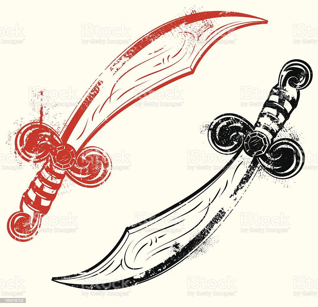 Aged tatto style scimitars royalty-free stock vector art