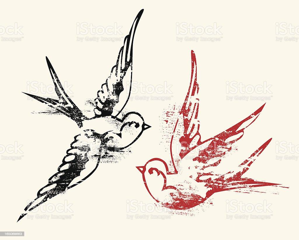 Тату две птицы эскиз