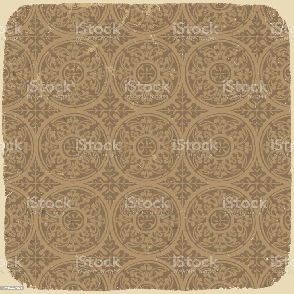 Aged vintage background with ancient seamless pattern. Vector il vector art illustration