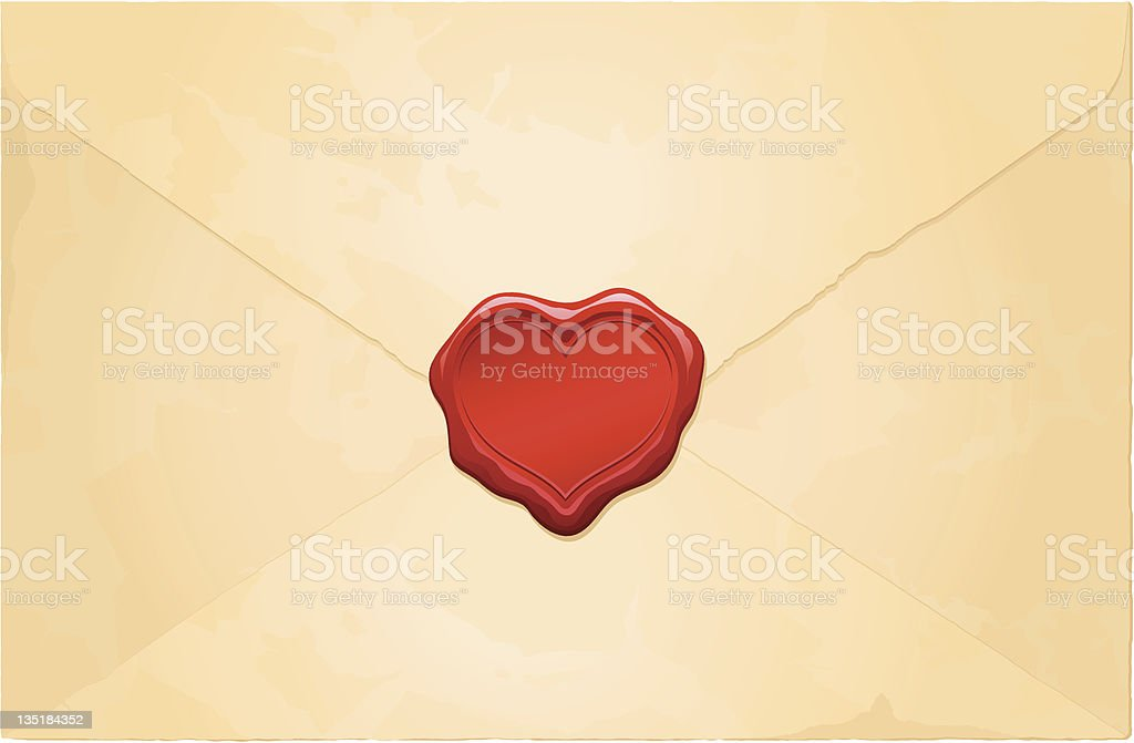 aged vintage envelope with blank heart wax seal royalty-free stock vector art