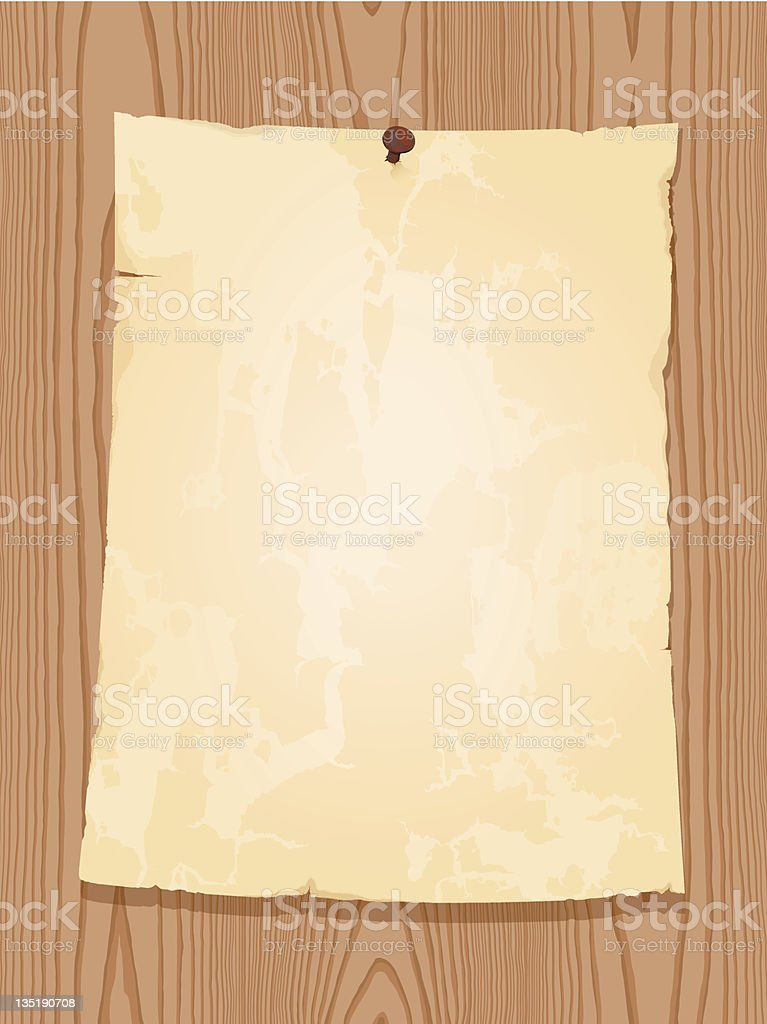 aged vintage paper on wooden background royalty-free stock vector art