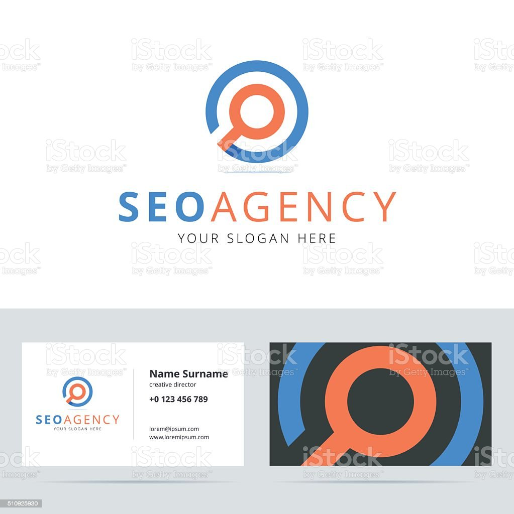 SEO agency sign and business card template. vector art illustration