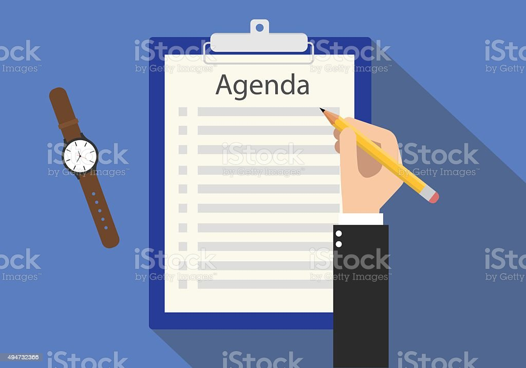 agenda meeting to do list on clipboard vector art illustration