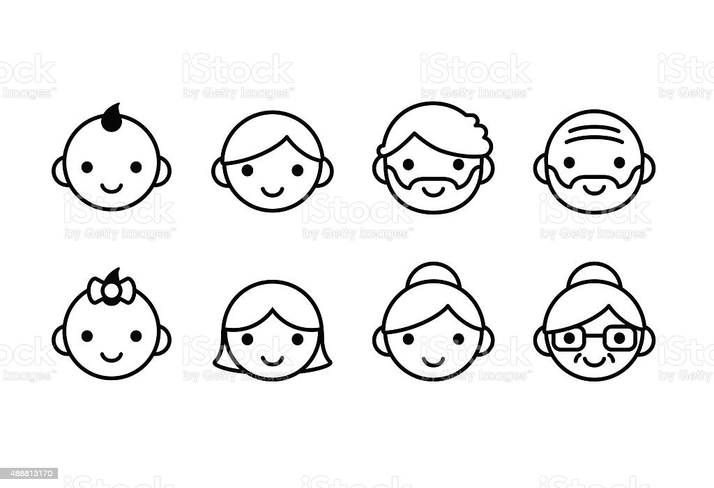 Ages icons vector art illustration