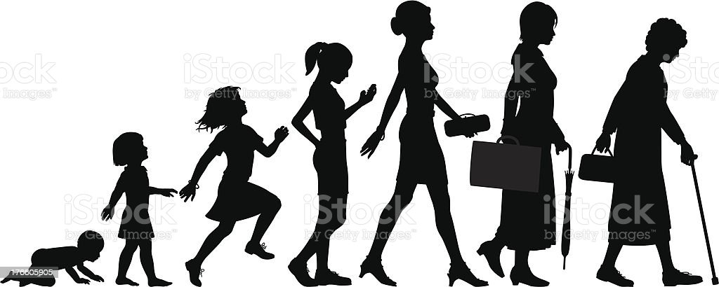 Ages of woman vector art illustration
