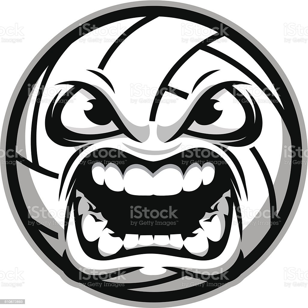 Aggresive Volleyball vector art illustration