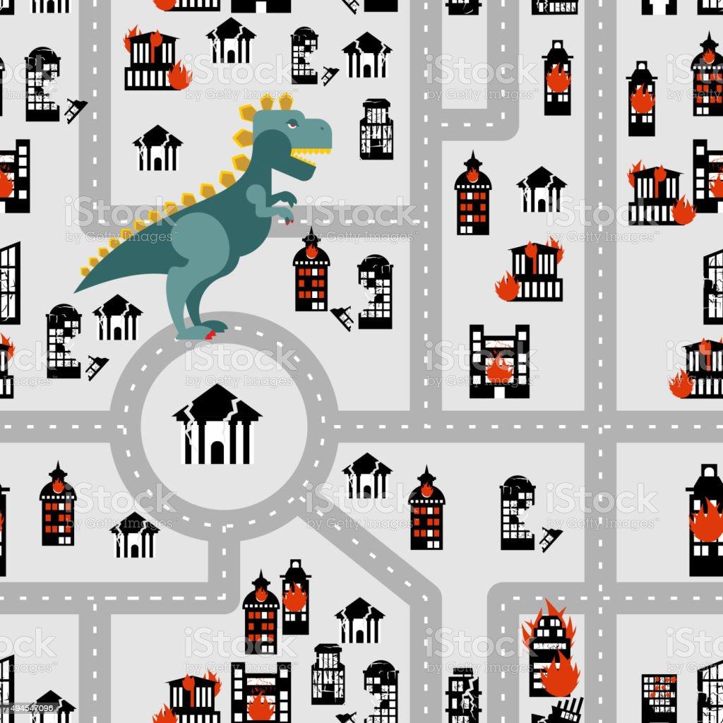 Aggressive dinosaur destroys urban building seamless pattern. An vector art illustration