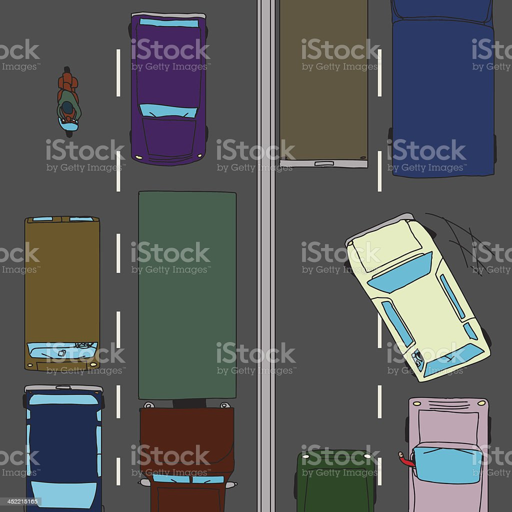 Aggressive Driver in Traffic royalty-free stock vector art