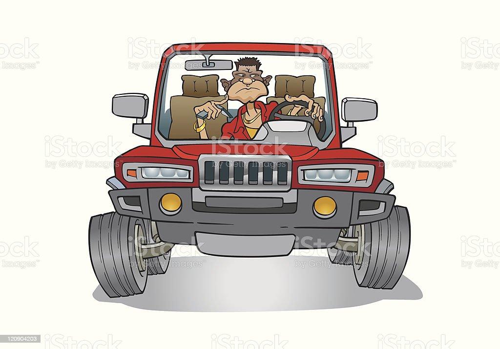 Aggressive Driver vector art illustration