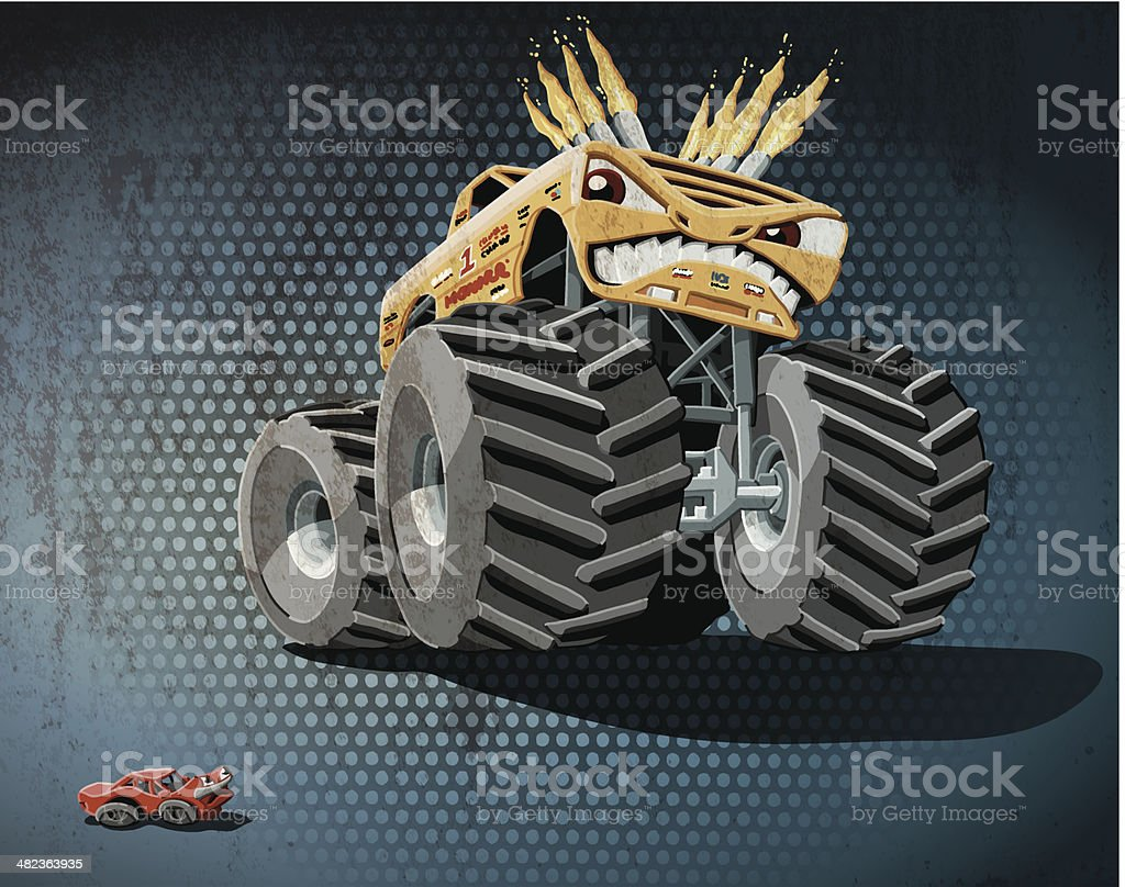 Aggressive Monster Truck Grunge Color royalty-free stock vector art