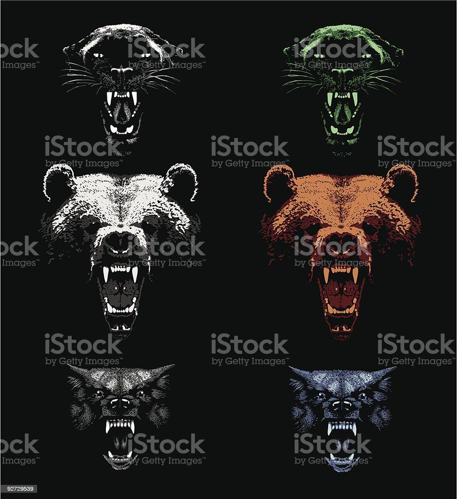 Aggressive Predators vector art illustration