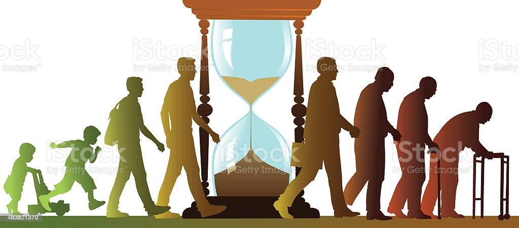 Aging Cycle with Sand Clock - Walking People Silhouettes vector art illustration